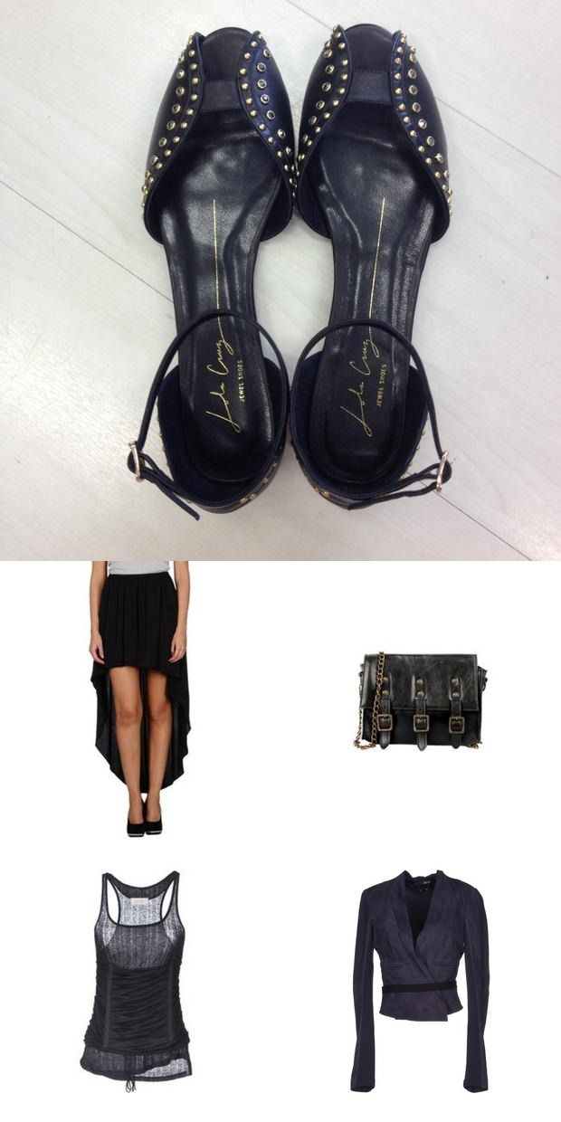 #Black studded #jewel #shoes from #LolaCruz combined in a #sexy and #rockchick look - we love it! fin more at #jaqard http://www.jaqard.com/viewcombi.php?combi=539b4fe3095a1eaf5bd37ebd