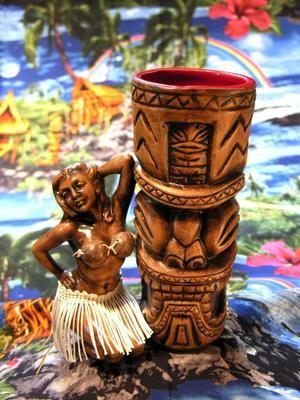 Da Big Puka with Coconut Bra Hula Girl - Ooga-Mooga! Tiki Mugs & More