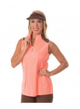 Jamie Sadock Radiance Women's Sleeveless Crinkle Mock Neck Studded Shoulder Golf Shirt-Radiance Coral  Jamie Sadock Radiance Group- Fall Collection for Golf - Ladies Golf Apparel - Golf Outfits- Coral and Brown- Jamie Sadock Womens Golf - Golf Shirts- Golf Pants - on and off the course fashion - ladies new arrivals