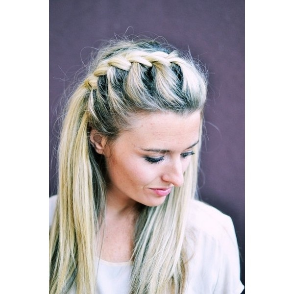 Hair DIY Half-Up Side French Braid ❤ liked on Polyvore