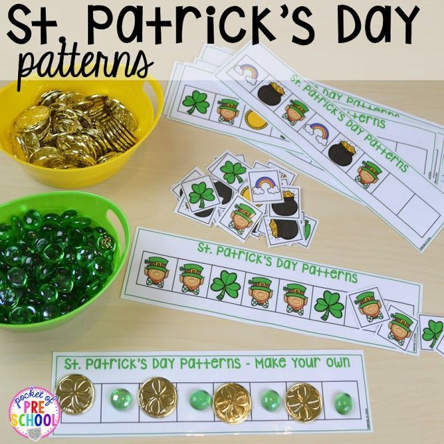 St. Patrick's Day pattern activity plus FREE ten frame shamrock cards for preschool, pre-k, and kindergarten. A fun way to practice patterns.