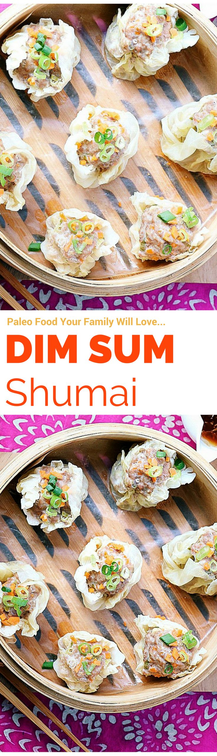 Paleo Dim Sum - Shumai ! These paleo dumplings are low carb and free of gluten, wheat and soy. They even come with Paleo Asian dumpling dipping sauce. My family absolutely loves this recipe !