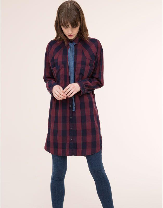 Pull&Bear - femme - blouses et chemises - chemise à carreaux xl long fit - vin - 09471351-I2015
