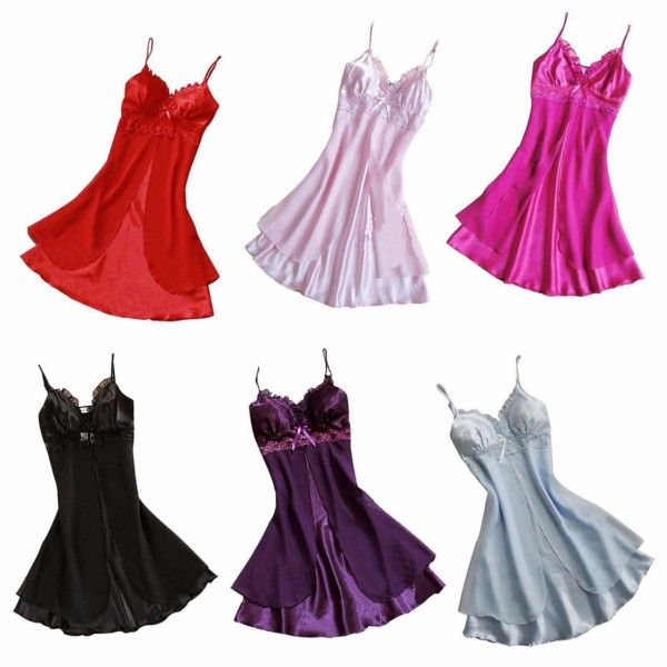 Larger Size Sexy Satin Strap Babydoll Lace Chemise Robe Nightgown Sleepwear