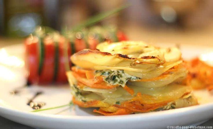 Mille Feuille Pommes de terre et Carottes aux herbesPour accompagner une grillade ou tout simplement pour un Diner léger ou un repas végétarien… Voilà un mille feuille revisité avec de fines tranches de pommes de terre et de carottes aux herbes et au mascarpone.
