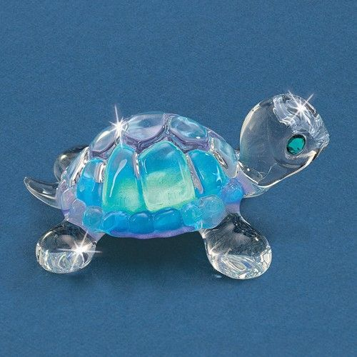 Small Blue Turtle Glass and Figurine w/ Swarovski Elements