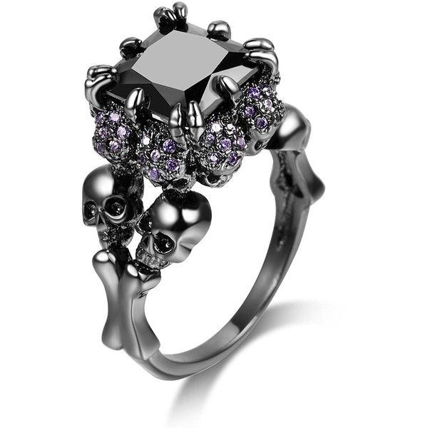 DALARAN Women's Cubic Zirconia Skull Rings Black Claw Gothic Band Cool... ($12) ❤ liked on Polyvore featuring jewelry, rings, skull band ring, goth jewelry, cubic zirconia jewelry, gothic jewelry and band rings