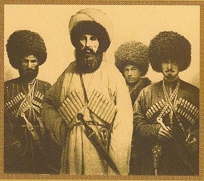 Imam Shamil with his sons in Saint Petersburg