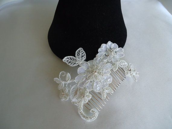Beautiful hand beaded bridal hairpiece made from ivory lace with rhinestones, beads and sequins. -Material: Lace, Rhinestones, Sequins, Beads