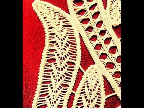 Macramè rumeno: riempimento petalo di un fiore / Romanian point lace: flower's petal filling - YouTube