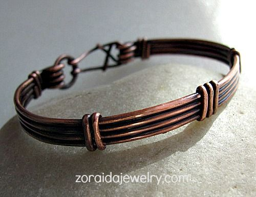 Copper Wire Bracelet for Men or Women | zoraida - Jewelry on ArtFire~<3
