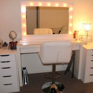 Marvelous White Wooden Dresser Table With Lighted Mirror Plus White Swivel And  Adjustable Stool With Bathroom Vanity Lighting Ideas Plus Bathroom Medicine  Cabinets ...