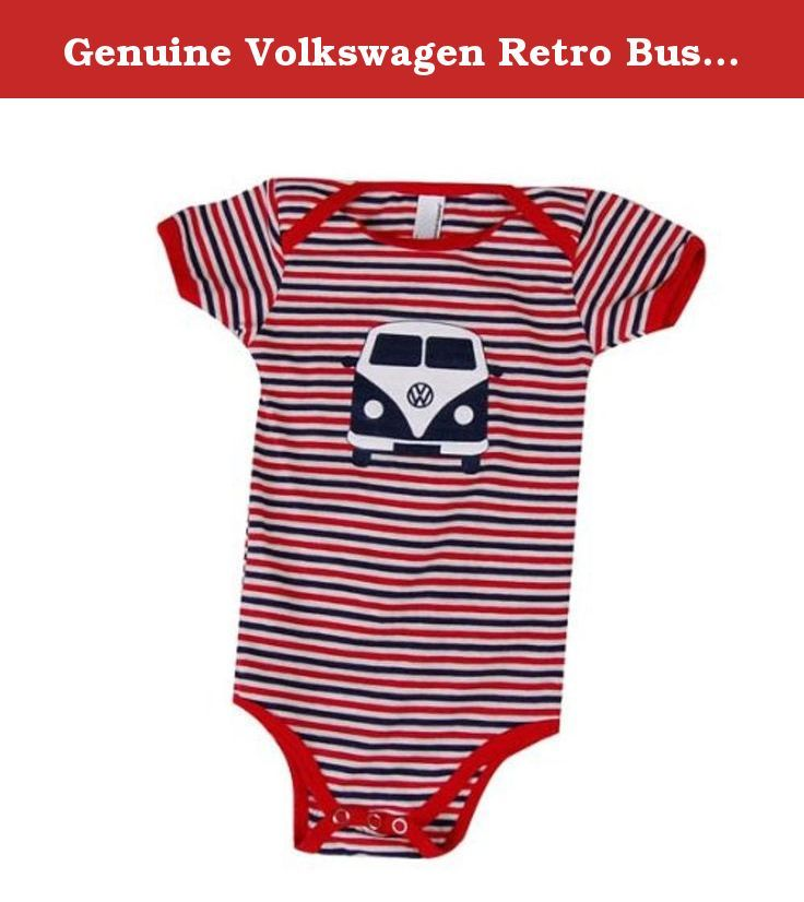 Genuine Volkswagen Retro Bus Striped Onesie - Size 3M (7-15 lbs). Great for everyday wear, this onesie will be a great addition to your baby's wardrobe! Made of 100% Baby Rib cotton construction with a neckband designed for easy on-and-off... because you know how important that is! Unisex. Natural, Navy, Red Santoro Stripe. Navy and white retro bus screened on front. Not intended for sleepwear. Sizing: 3M(7-15 lbs). Shrinkage: will shrink an average of one size when put in the dryer.