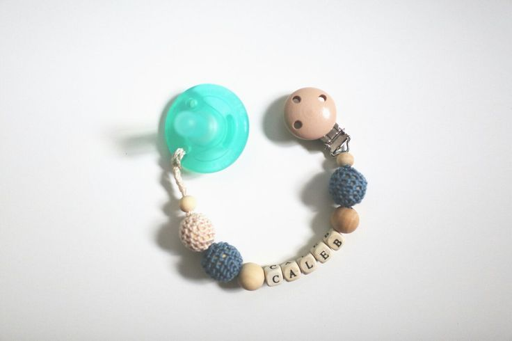 Crochet Soothie Clip for baby boy. Personalized. Crochet by Nina