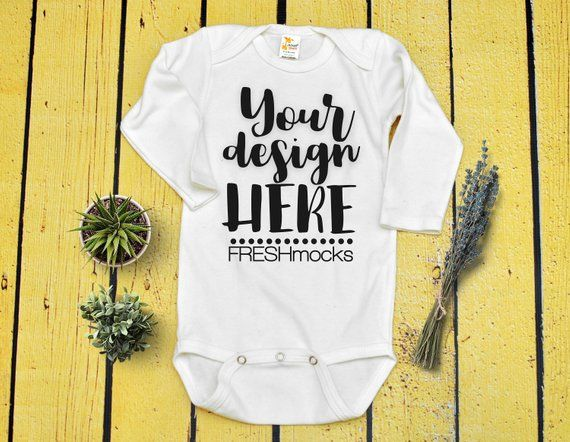 bd0e2d6c2 Laughing Giraffe Unisex Long Sleeve Bodysuit Onesie MOCKUP - White Body  Suit Mock Up on Yellow Wood Background - Mock Up Instant Download