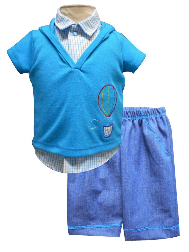 Conjunto playera manga corta bordada con capucha, camisa y pantalón de mezclilla. Tallas 3, 6, 12  y  18 meses.