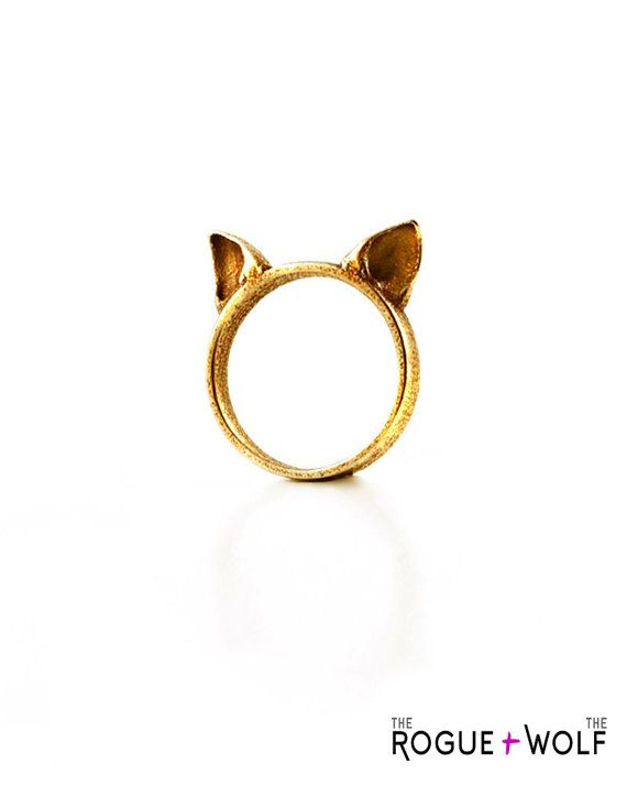 SEASON SALE Cat Ears Ring in gold A gold by TheRogueAndTheWolf