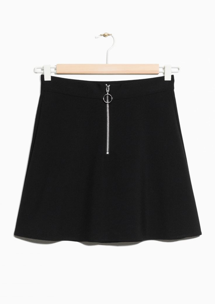 & Other Stories image 1 of Ring Zip Mini Skirt in Black