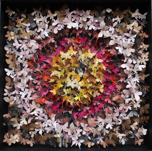 Paper Butterfly ArtButterflies Sculpture, J Cole, Butterflies Installations, Paper Art, Art Ideas, Rebecca Cole, Paper Crafts, Butterflies Artworks, Paper Butterflies