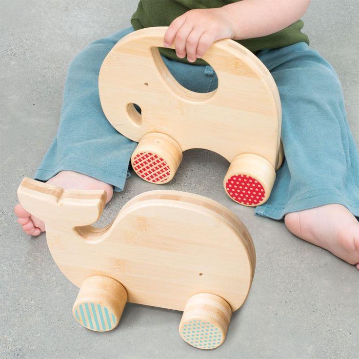 Petit Collage | Mighty Bamboo Push Toy - Elephant