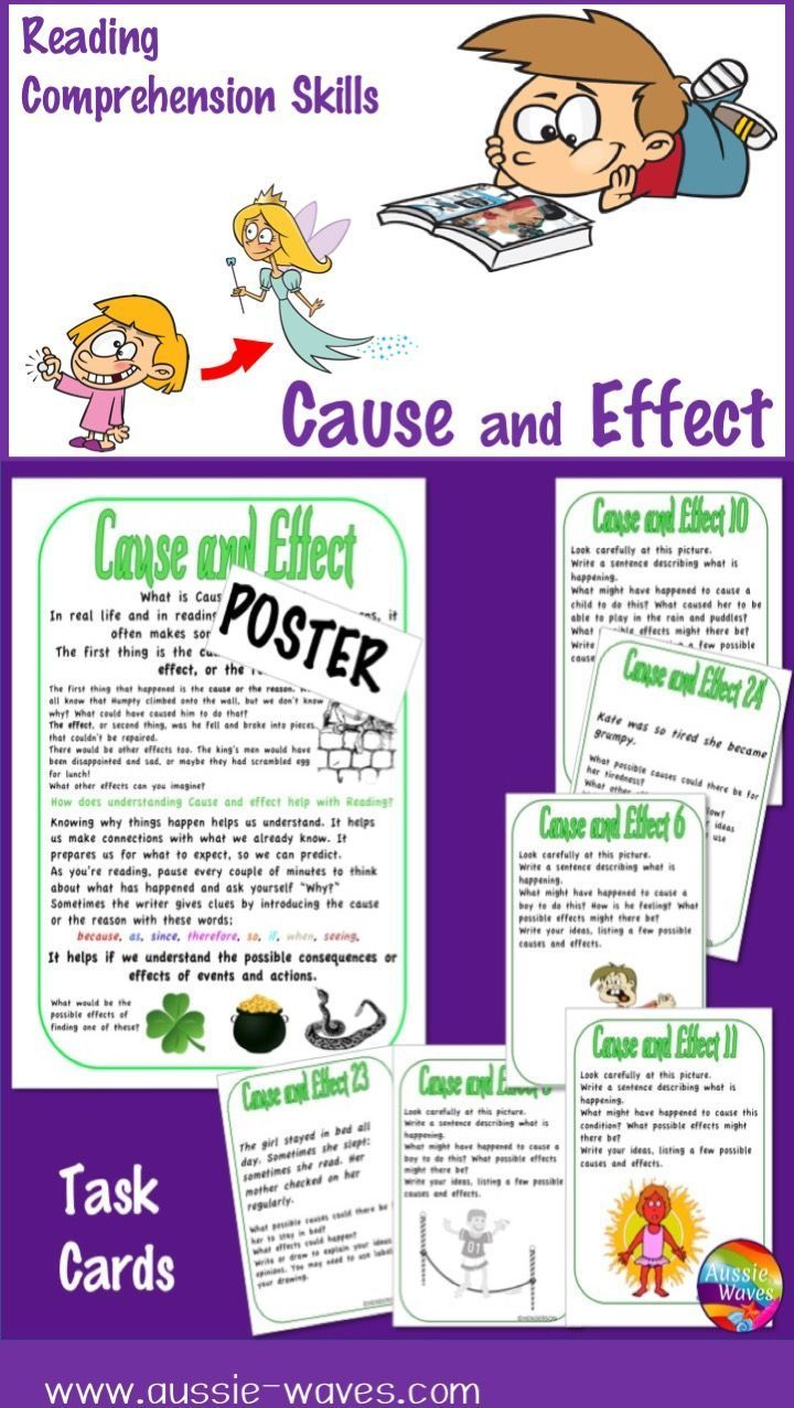 """Poster and Task Cards to help students understand """"Cause and Effect."""" This improves Reading Comprehension skills."""
