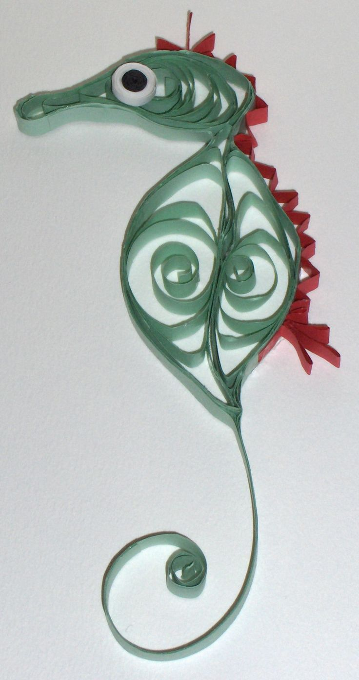 "Quilled paper Seahorse - approx. 6"" long - use as an ornament or mount and frame - $10.00"