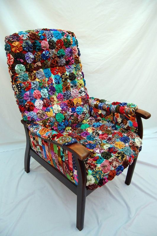yo yo quilt blocks used to upholster a chair