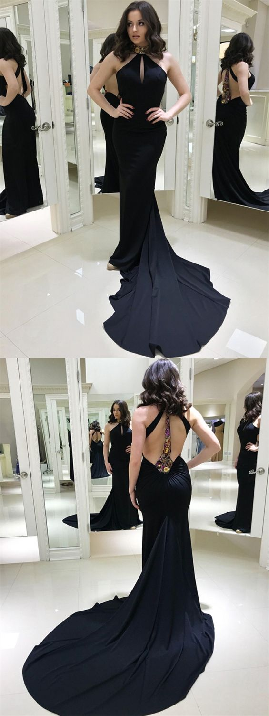 Mermaid High Neck Sweep Train Dark Navy Prom Dress With Embroidery Navy Prom Dresses Prom Dresses Prom Dresses Long Mermaid [ 1500 x 565 Pixel ]