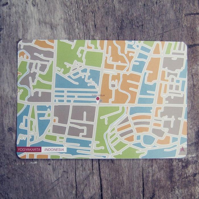 Postcard | Indonesian City Map Postcard Series | Yogyakarta - Indonesia