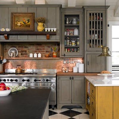 Brick Backsplash Kitchen ...gray cabinets...the brick could be the item that ties the gray to the flooring and blends it all together
