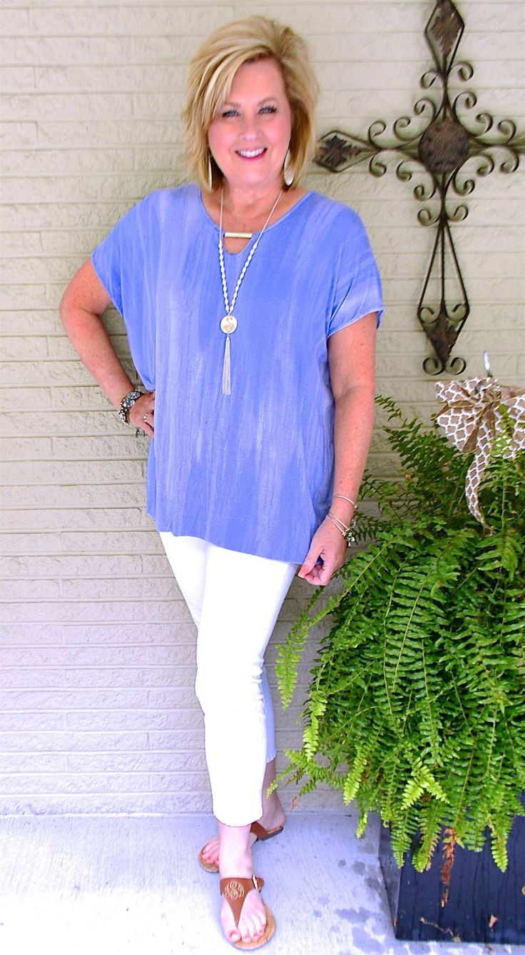 50 IS NOT OLD | A SUMMERTIME OUTFIT | Simple summer outfit | White pants | Crop jeans | Fashion over 40 for the everyday woman