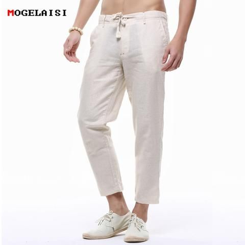 Frieed Mens Jogger Straight Ankle-Length Slim Linen Leisure Solid Pants