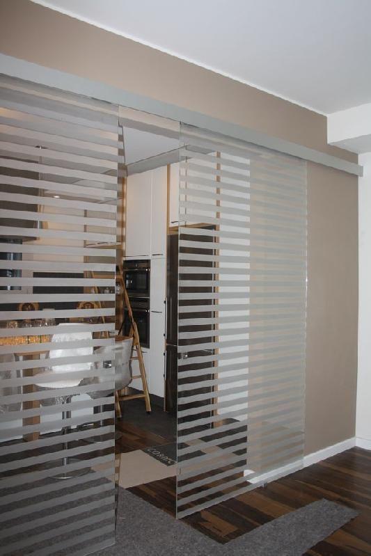porta vetro decoro trasparente binario in alluminio