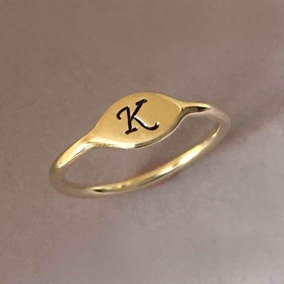 Initial Letter Ring in 14k Yellow Gold  Small Signet by esdesigns