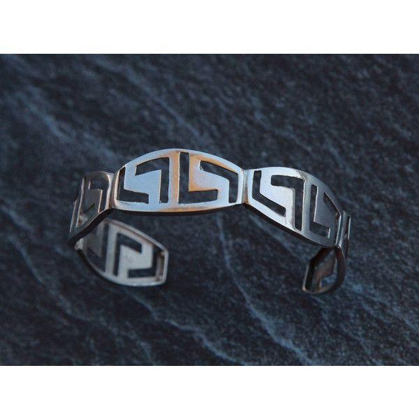 Silver cuff bracelet Greek key bracelet Womens cuff bracelet 925... ❤ liked on Polyvore featuring men's fashion, men's jewelry, men's bracelets, mens sterling silver bracelets, mens cuff bangle, mens silver cuff bracelet, mens silver bracelets and mens watches jewelry