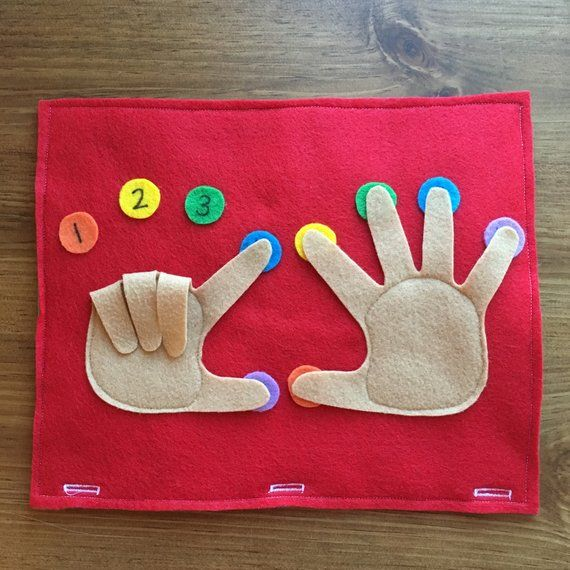 Finger Counting Page; Toddler Quiet Book, Busy Bag, Travel Book, Preschool Games, Educational Activity, Learning, Quiet Time, Counting Hands
