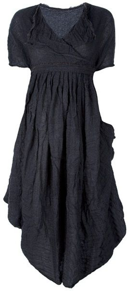 *Grey wool dress from Daniela Gregis featuring a cowl neckline, short sleeves, a pleated design and gathering.