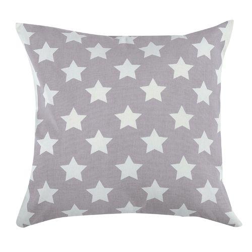 Coussin carré en coton gris et blanc étoiles Jardin d'Ulysse