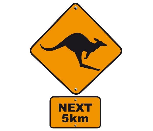 Panneau Australie Kangourou road