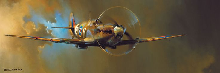 """Spitfire by Barrie A.F. Clark.  1000 pieces. Finished Puzzle Size: 13"""" x 39"""". This"""" Spitfire Mk V"""" image is the best selling aviation art print in history. It is such a classic image, it does not matter how many times one looks at it, one never tires of it."""