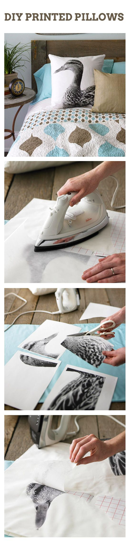 DIY printed pillows YOU SEE HOW THE TRANSFERS ARE MADE HERE? YOU CAN DO THE SAME…