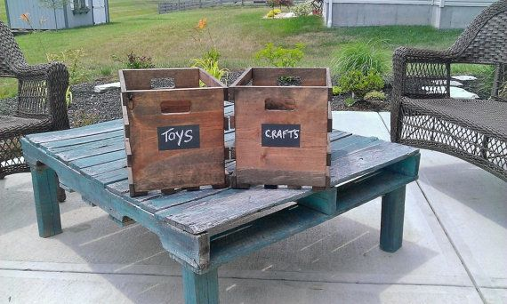 Wooden Crates with Chalkboard Paint labels set by RusticBarndecor, $40.00