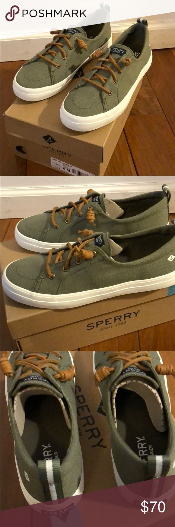 Brand New Women's Sperry TopSiders Women's Sperry Topsider Sneaker size 8. Olive green with brown leather laces. Never worn! New in box. Sperry Shoes Flats & Loafers