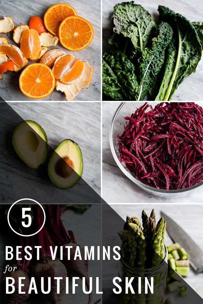 5 best vitamins for beautiful skin and the food that contains these vitamins. Also good for overall health.