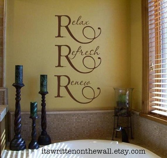 Relax, Refresh, Renew, Vinyl Wall Quote, Bathroom Decoration, Shower Door  Decoration