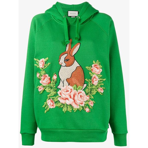 Gucci Rabbit Floral Embroidered Hoodie ($1,465) ❤ liked on Polyvore featuring tops, hoodies, green, floral hoodie, floral hoodies, long sleeve hooded sweatshirt, gucci hoodies and long sleeve hoodie