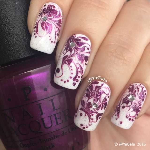 """37.9k Likes, 803 Comments - Galina S. (@yagala) on Instagram: """"Dry marble nail design.  Polishes: @opi_products """"Alpine Snow"""" and """"Suzi and the 7 Düsseldorfs""""…"""""""