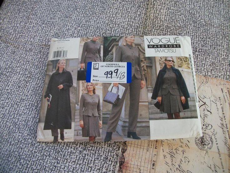 Vogue Tamotsu Wardrobe Pattern 2041 Misses Uncut Size 8-10-12 With Instructions. #VoguePatterns