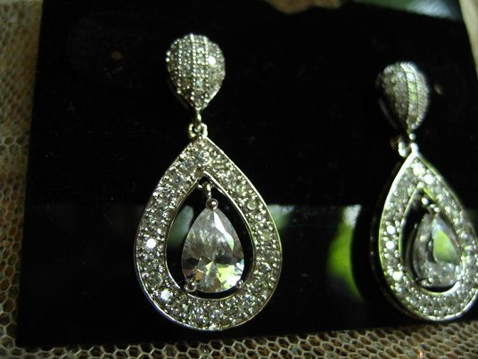 Micro Pave Pear Earrings