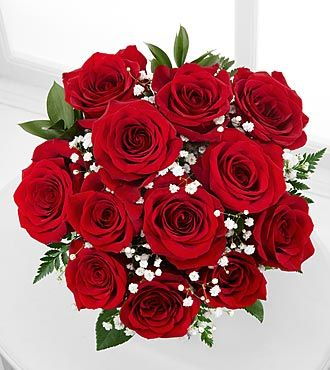 wedding bouquet red with baby breathe   Red Rose Bouquet with Baby's Breath